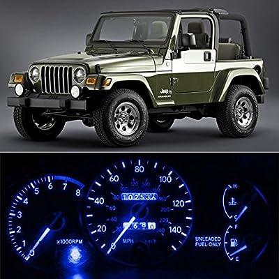 Partsam 6-Light SMD Blue LED Speedometer Indicator Package For 97-06 Jeep Wrangler