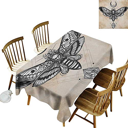 Rectangular Tablecloth W52 x L70 Fantasy Dead Head Hawk Moth with Luna and Stone Spiritual Magic Skull Illustration Black White Cream for Home Party Wedding & More