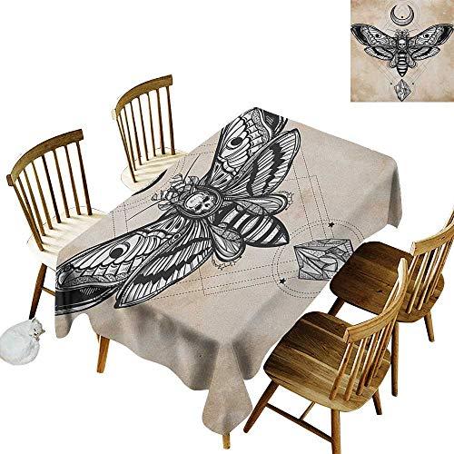 Dead Head Gray Rubber - Rectangular Tablecloth W52 x L70 Fantasy Dead Head Hawk Moth with Luna and Stone Spiritual Magic Skull Illustration Black White Cream for Home Party Wedding & More