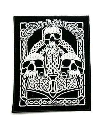 Powerwolf2008S Amon Amarth Triple Skull Viking Death Metal Band Woven Sew On Melodic Death Metal Band Jacket Sew-On Patch Applique Rock Heavy Black (Amon Amarth 13) (Best Melodic Black Metal)