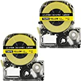 LK-4YBW Label Tape, LaBold 2 Pack Compatible Epson LabelWorks Label Maker Tape Refill Cartridge Cassette LC-4YBW (SC12YW) Black on Yellow 1/2'' X 26.2'(12mm x 8M)