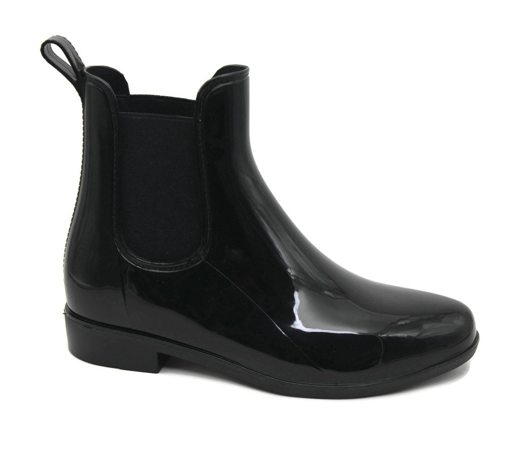 MS2910 Black Ladies Short Ankle Rain Boots 9 by Mobesano (Image #1)