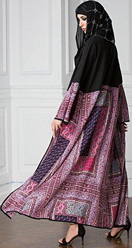 Ababalaya Frauen Elegante Muslimische Islamische Kleidung Chiffon Blumendruck Länge Abaya Mit Taschen M-5XL