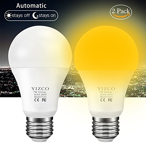 Amber Light Sensor Dusk to Dawn LED Bulbs Bug Light Bulb Yellow LED A19 Porch Lights Security Outdoor Smart Sensor Lighting 2000K 40W Amber LED Auto on/off Bugs Free E26 500 Lumens(2 PACK)