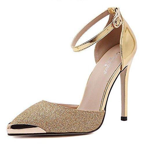 Señoras Las Stiletto Mujeres Novia Party Heels Estrecha Punta Prom Correa Tobillo Zapatos High Bombas Hebilla Boda Sandalias Gold De qq0p8H
