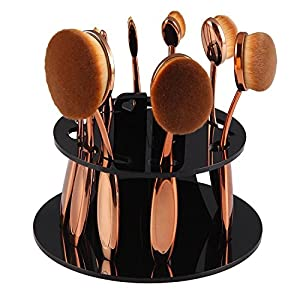10PCS/Set Soft Oval Toothbrush Eyebrow Eyeliner Foundation Blush Lip Brushes Kit With Box US Stock Rose Gold+10 Holes Oval Makeup Brush Holder Cosmetic Brushes Drying Rack Organizer Shelf Tool (Black)