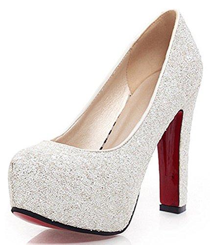 IDIFU Womens Glitter Sequins Platform Low Top Slip On Wedding Pumps Shoes Block Heels White