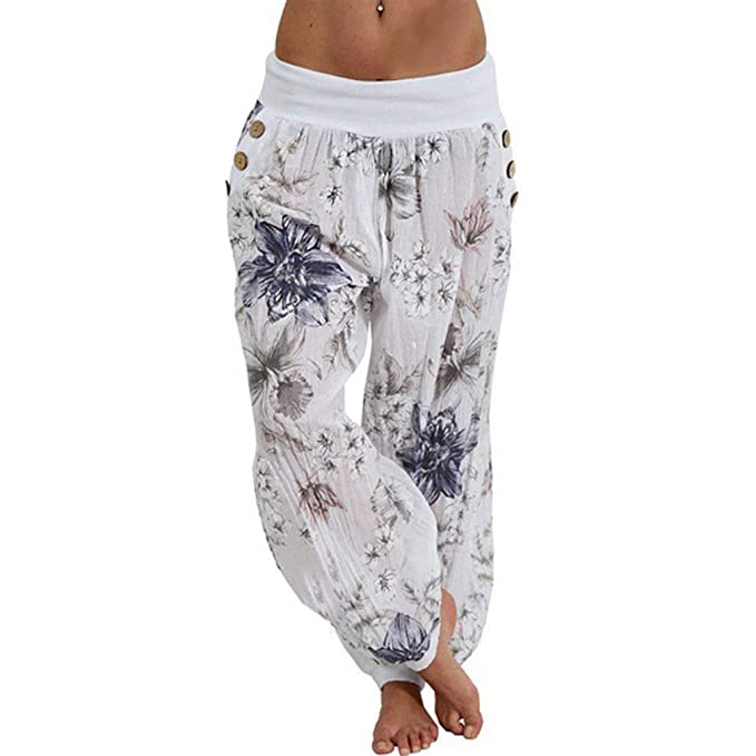 7b56c4e46 Hibote Women Oversize Harem Trouser Casual Pants High Waist Floral Printed  Turkish Trousers Puff Baggy Elastic