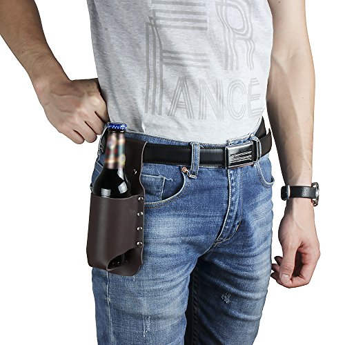 Beer Holster Leather Bottle Can Holder - Cowboy Beer Holster Holder Coffee Color Classic Shoulder Leather Beer Holder Gift For Men Father Boyfriend Friends Picnic Campain Party