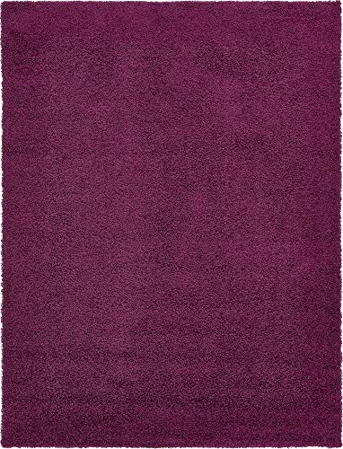 Unique Loom Solo Solid Shag Collection Modern Plush Eggplant Purple Area Rug (9' 0 x 12' 0) (Area Teal Purple Rug And)