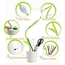 Desk Light/Table Lamps Eye Care Studying Lamp Flexible Neck,Desk Lamp Working Light USB Rechargeable, 3 Level Dimmer LED Reading Lamp With Touch Sensitive Switch and Decor Plant Pencil Holder