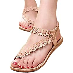 TOOPOOT Women's Sweet Summer Bohemia Beaded Sandals Clip Toe Flat Sandals (8, khaki)