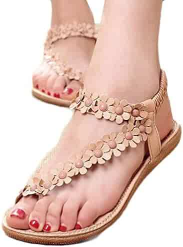 01c156560c204 TOOPOOT Women s Sweet Summer Bohemia Beaded Sandals Clip Toe Flat Sandals