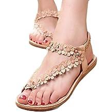 TOOPOOT Women's Sweet Summer Bohemia Beaded Sandals Clip Toe Flat Sandals
