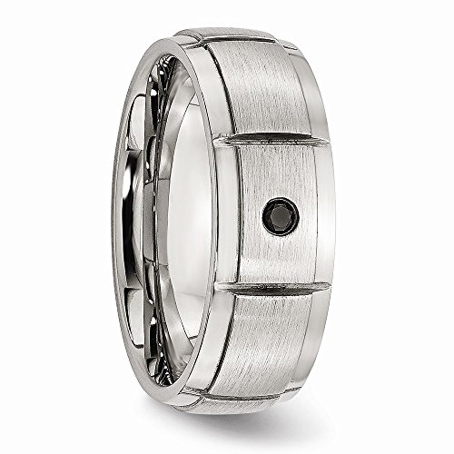 Saris and Things Stainless Steel Polished Brushed 0.05pt. Diamond 8mm Band Ring 12 Size by Saris and Things (Image #4)