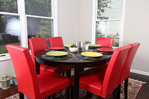 Amazon.com - Red Leather 7pc Oval Solid Top Dining Table ...
