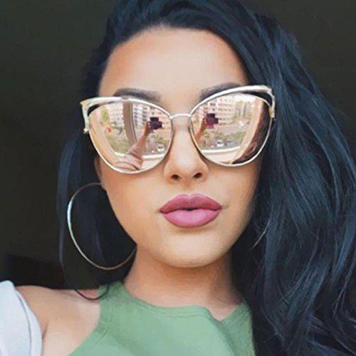 Ikevan 2017 Fashion Retro Men Women Clear Lens Glasses Metal Spectacle Frame Myopia Eyeglasses Sunglasses (Gold)