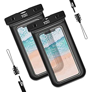 YOSH Funda Impermeable Móvil Universal 2 Unidades, IPX8 Certificado, Bolsa Sumergible para iPhone X 8 7 6s Samsung J5 J3 J7 S8 S9 Huawei P20 P10 P9 y Otros Móviles hasta 6.3 Pulgadas 22