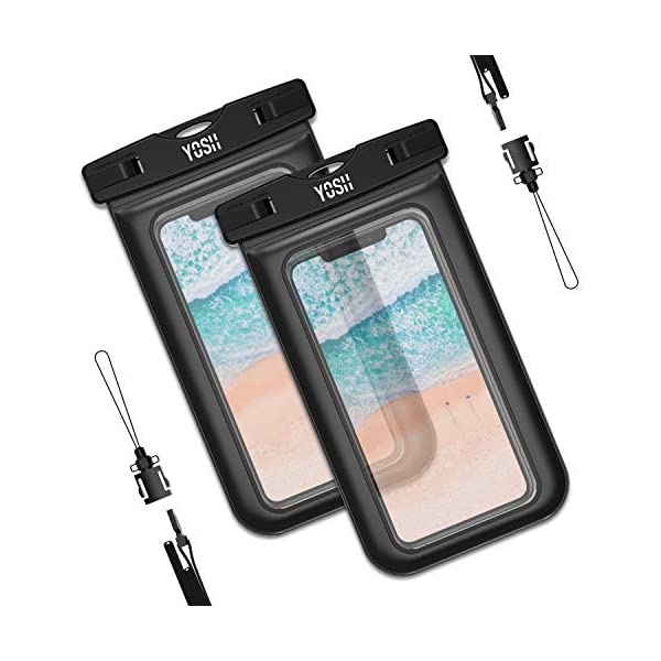 YOSH Funda Impermeable Móvil Universal 2 Unidades, IPX8 Certificado, Bolsa Sumergible para iPhone X 8 7 6s Samsung J5 J3 J7 S8 S9 Huawei P20 P10 P9 y Otros Móviles hasta 6.3 Pulgadas 1