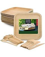 Moritz & Moritz Duurzaam palmblad servies, 75 stuks, 25 wegwerpborden, 25 houten bestekken, wegwerp, alternatief voor bamboe borden en bamboe servies, 75 stuks