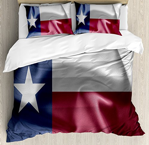 Texas Silk (Western Decor Duvet Cover Set King Size by Ambesonne, State of Texas Flag Star Freedom Symbol Silk Fabric Surging by Wind Blow Looking, Decorative 3 Piece Bedding Set with 2 Pillow Shams)