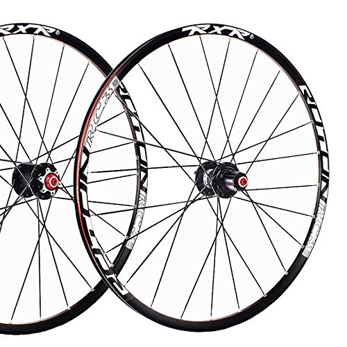 FidgetFidget 7-11 Speed QR/Thru Axle Mountain Bike Wheels 26/27.5/29'' Disc Brake MTB Wheelset 29'' Black Quick Release 1Pair Wheels
