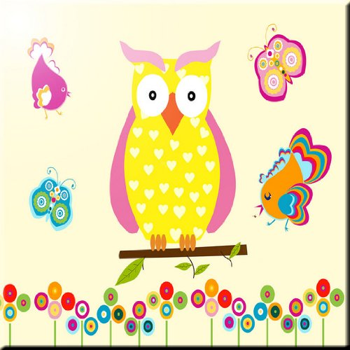 6 x 6 Rikki Knight Yellow Owl Hearts on Deco Design Ceramic Art Tile