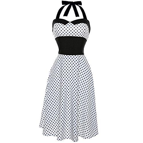 Robe de bal,Covermason Version Vintage Polka 1950's pin-up robe de soire cocktail, style halter annes 50  pois Blanc