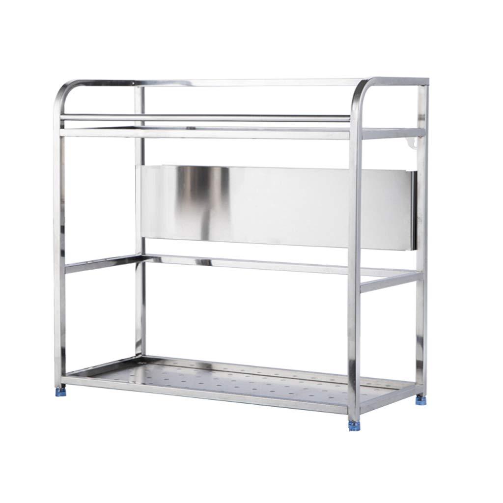 WLNKJ Kitchen Countertop Storage Rack Bracket, Floor-Standing 2-Layer Seasoning Storage Rack, Stainless Steel Multi-Function Kitchen Seasoning Rack - Silver,a,50cm