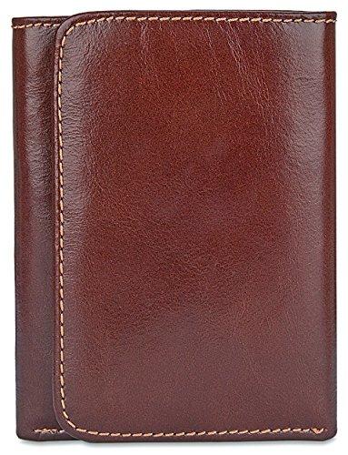 Men's RFID Blocking Genuine Full Grain Leather ID Window Trifold Wallet w Keychain Maroon - b1w002rd - Maroon Leather Ring