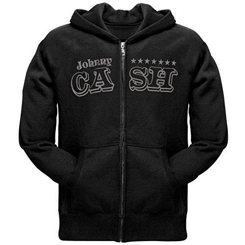 Johnny Cash - Mens Stars Zip Hoodie X-Large Black (Zip Sweatshirt Rock Star)