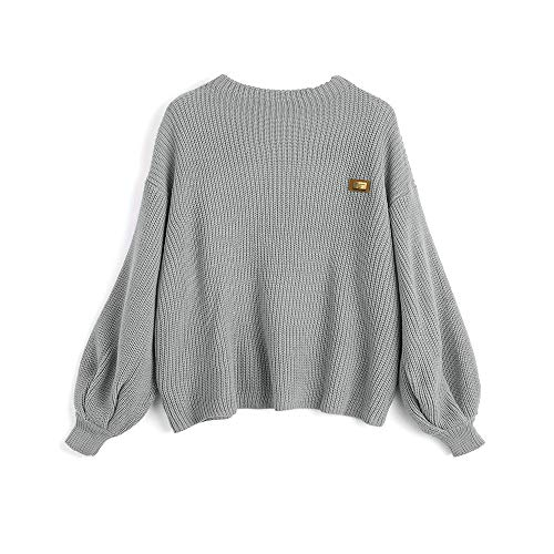 ZAFUL Women's Casual Loose Knitted Sweater Lantern Sleeve Crewneck Fashion Pullover Sweater Tops Gray