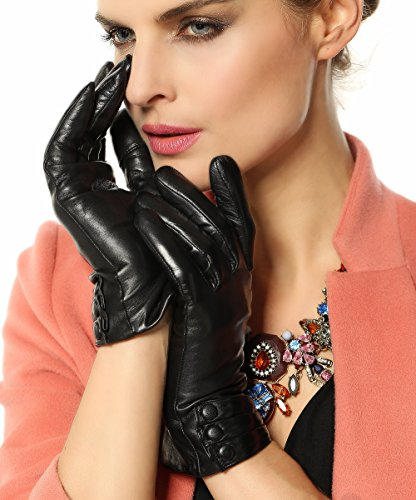 Warmen Women's Touchscreen Texting Driving Winter Warm Nappa Leather Gloves - 7.5 (US Standard size) - Black ( Fleece Lining )