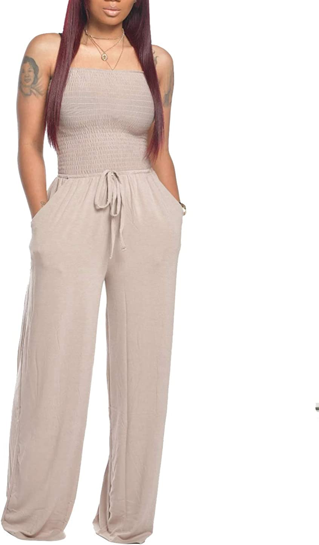 Memorose Women Wide Leg Jumpsuit Rompers Casual Off Shoulder Strapless Drawstring Waist Long Pants Playsuit