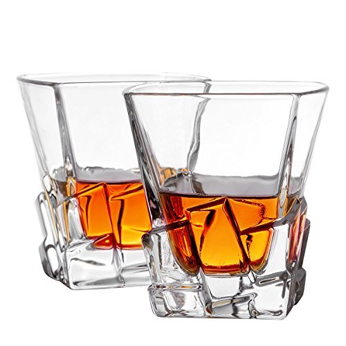 Whiskey Glasses, Old Fashioned Glasses By Mivim 300mL/10.25oz- Set of 2. Lead-Free Crystal Clarity Fits Large Ice Cube, Unique, Elegant, Dishwasher Safe.Perfect as a Gift. (Type2-300ml 2packs)