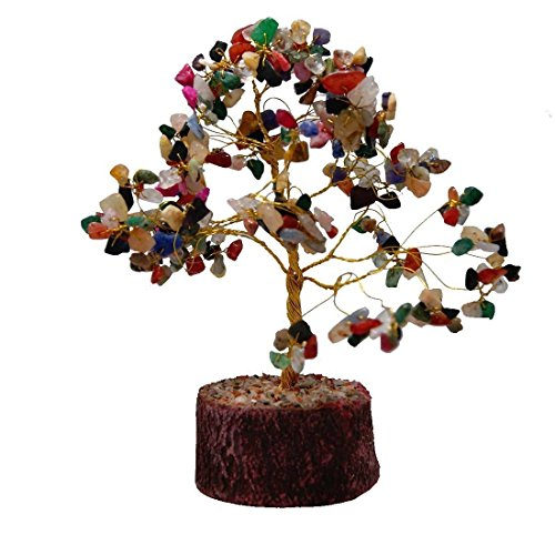 Divya Mantra Feng Shui Natural Multicolor Healing Gemstone Crystal Bonsai Fortune Tree for Good Luck, Wealth & Prosperity-Home Office Table -