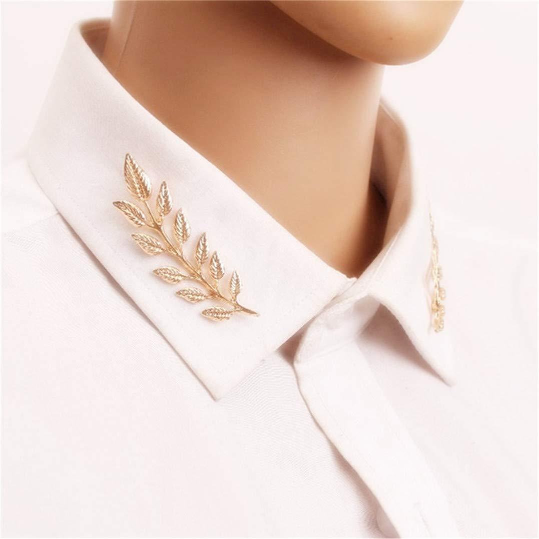 or Underleaf R/étro or argent feuille feuille costume costume aiguille collier unisexe broche accessoires de bijoux
