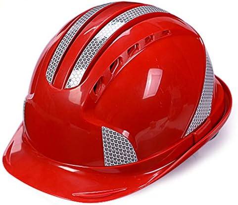 MEI XU 建設安全ヘルメットABS反射ヘルメット建設現場電力建設プロジェクトリーダーシップヘルメット通気性ハードヘルメット(4色オプション) // (色 : 赤)