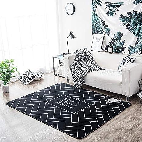 Lindou Moderna Manta Negra Alfombra Simple Moderna Sala de ...