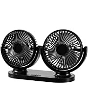 Dual Heads Car Fan, 12V/24V universal 360° all angles adjustable car fan Low noise automatic cooling USB car fan Manual Rotation 3 Speeds Adjustable with USB Plug In