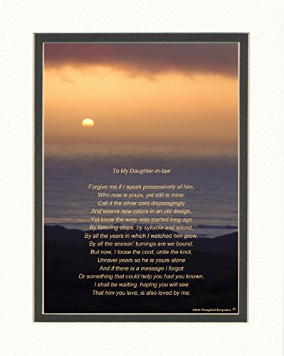 Daughter in Law Gift From Mother in Law Poem, Lovely Wedding or Welcome Gift, Ocean Sunset, 8x10 Double Matted.