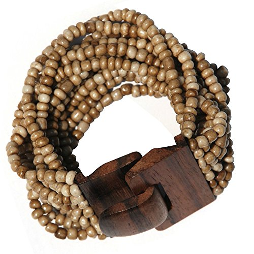 Antique Dark Bone White Beaded Bali Bracelet With Hard Wood Buckle Clasp - 14 Elastic Strands - 2