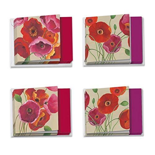 Painted Poppies - Box of 12 Blank Assorted Note Cards with Envelopes (3 Each of 4 Designs) - Colorful Flowers, Notecard Set for All Occasions - Nature, Garden Theme (4 x 5.12 Inch) MQ4548OCB-B3x4