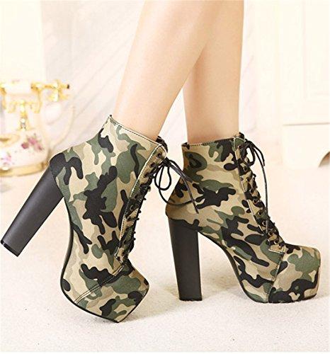 Frauen schnueren sich oben Camouflage Punk Platform Ankle Boots Pant Schuh Absatzschuhe Armeegruen
