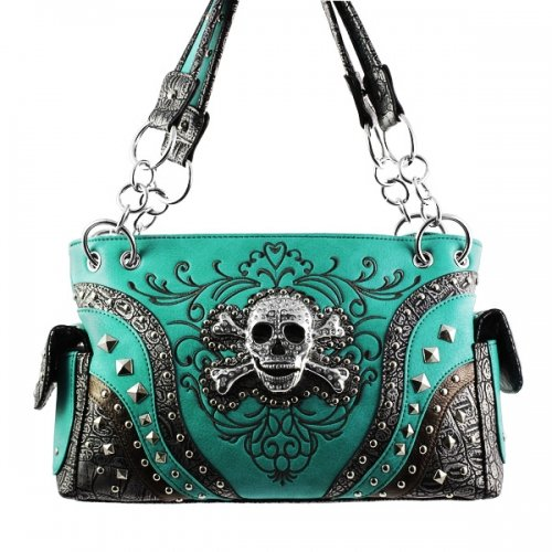 Concealed Handgun Carrying Western w/Rhinestone Skull and Crossbones Handbag PURSE - TURQUOISE