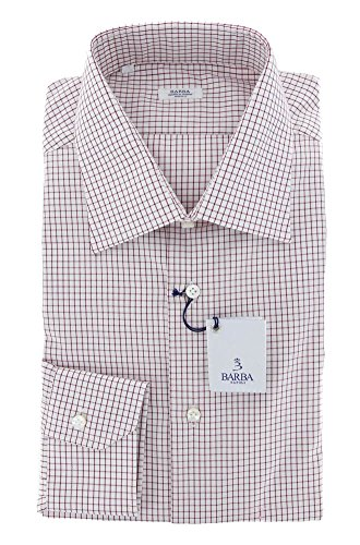New Barba Napoli Burgundy Red Check Slim Shirt 16/41