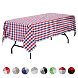 VEEYOO Rectangular Plaid Check Tablecloth Gingham 100% Cotton for Home Kitchen Party Indoor or Outdoor Use 60 x 102 inch (Seats 8 to 10 People), Red, Navy & White