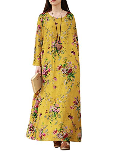 SIMSHION Women's Cotton Vintage Floral Print Plus Size Long Dress Loose Long Sleeve Maxi Dress with Side Pockets Yellow 3XL - Long Sleeve Caftan Dress