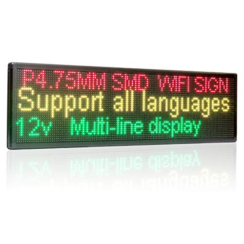 Leadleds P4.75 RGY Tri-Color LED Sign Display Board, WiFi Wireless LED Car Sign, Red Green Amber 3colors Text,Images,Time,Date Display, Working with Smartphone Tablet for Advertising, School, Car