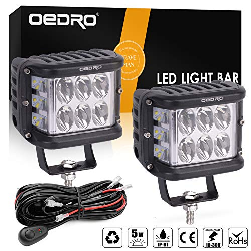 (oEdRo Side Shooter LED Lights 2Pcs 4 Inch 60W Dual Row LED Pods Off Road Spot Flood Combo Beam Dual Side Cubes Work Light Driving Fog Lights for Trucks Jeep ATV SUV Boat, with Wiring Harness)